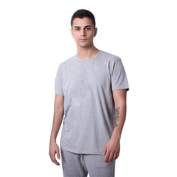 Gri Düz Renk Basic Regular Unisex Tişört