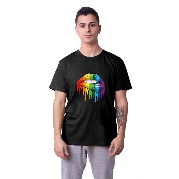 Gökkuşağı Dudak Baskılı Regular Unisex Tişört