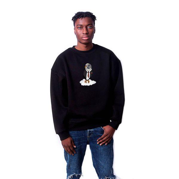 Bulut Kuşu Baskılı Oversize Unisex Sweatshirt