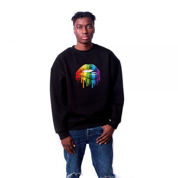 Gökkuşağı Dudak Baskılı Oversize Unisex Sweatshirt