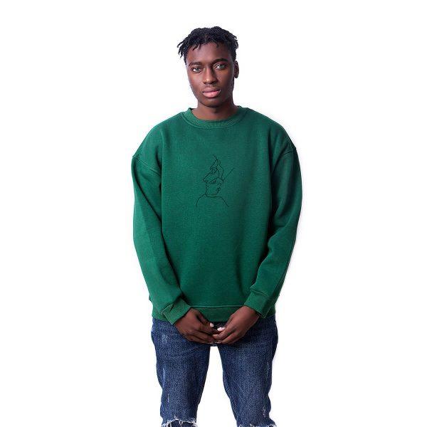 Tek Çizgi Baskılı Oversize Unisex Sweatshirt
