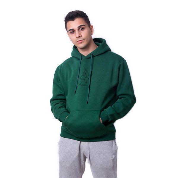 Tek Çizgi Baskılı Yeşil Oversize Hoodie