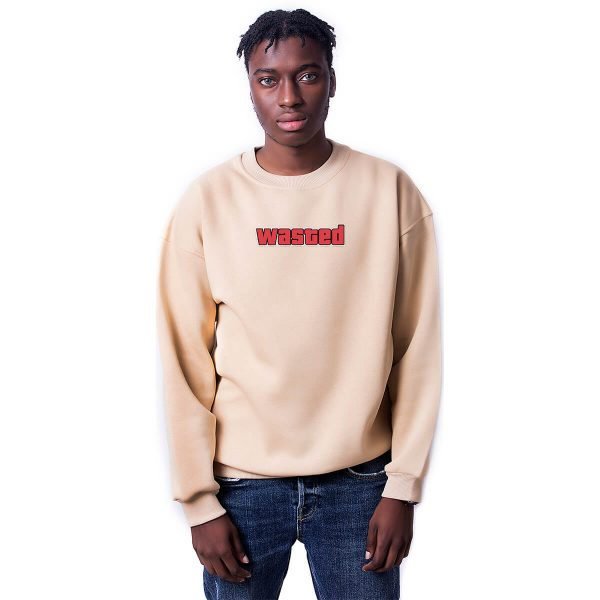 Wasted Baskılı Oversize Unisex Sweatshirt