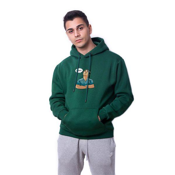 Çekirge Baskılı Yeşil Oversize Hoodie