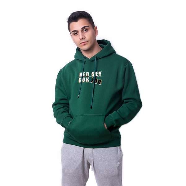 Her Şey Çok Zor Baskılı Yeşil Oversize Hoodie HDFN0107YSL