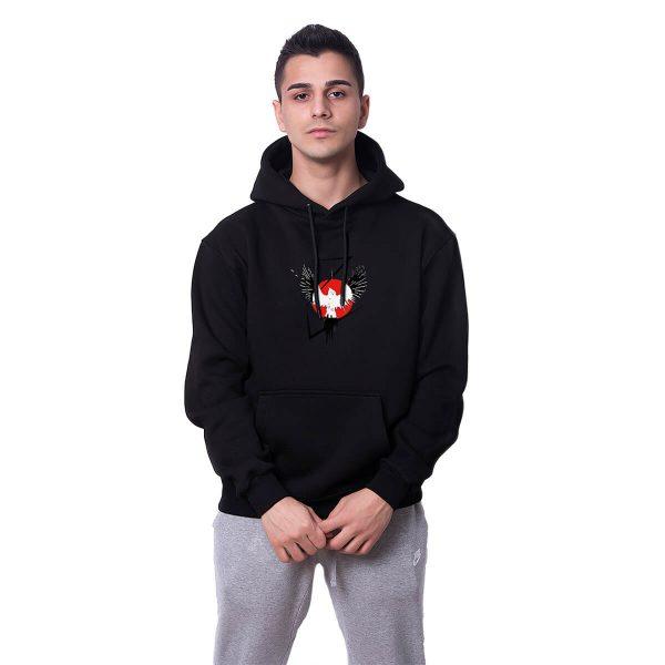 Karga Yükselişi Baskılı Siyah Oversize Hoodie HDFN0109SYH