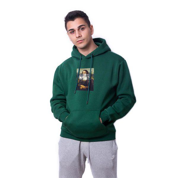 Mona Monroe Baskılı Yeşil Oversize Hoodie HDFN0077YSL