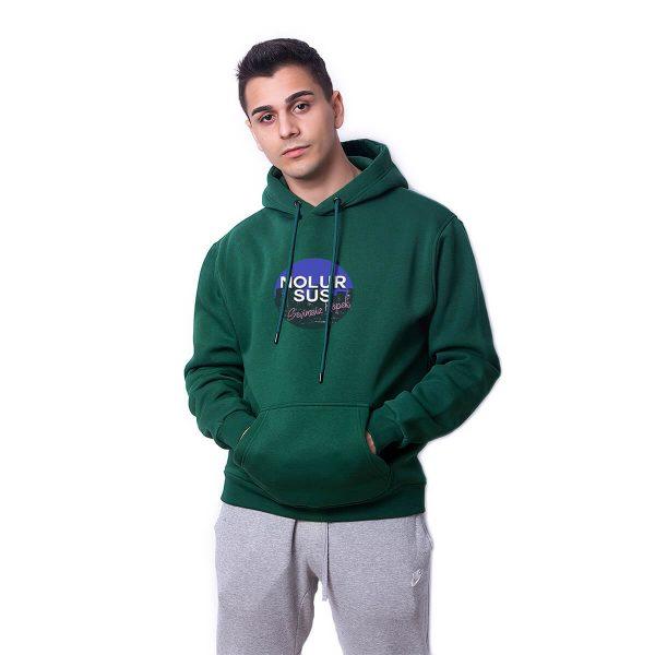 Nolur Sus Baskılı Yeşil Oversize Hoodie HDFN0082YSL