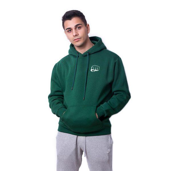 Yumruk Baskılı Yeşil Oversize Hoodie HDFN0108YSL