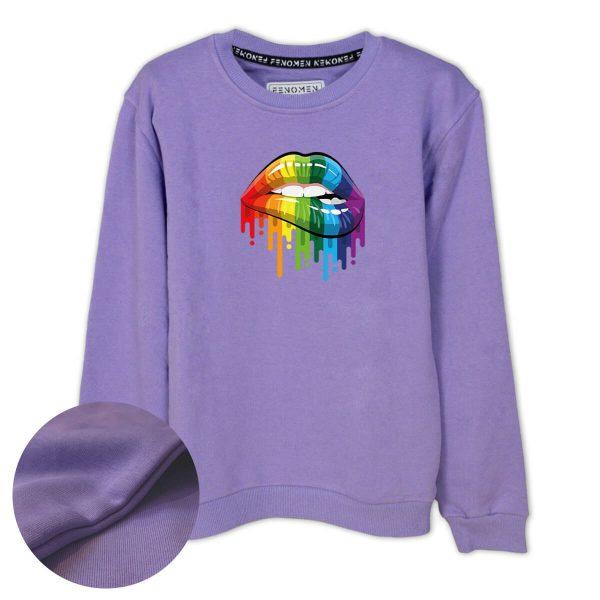 Gökkuşağı Dudak Baskılı Çocuk Sweatshirt