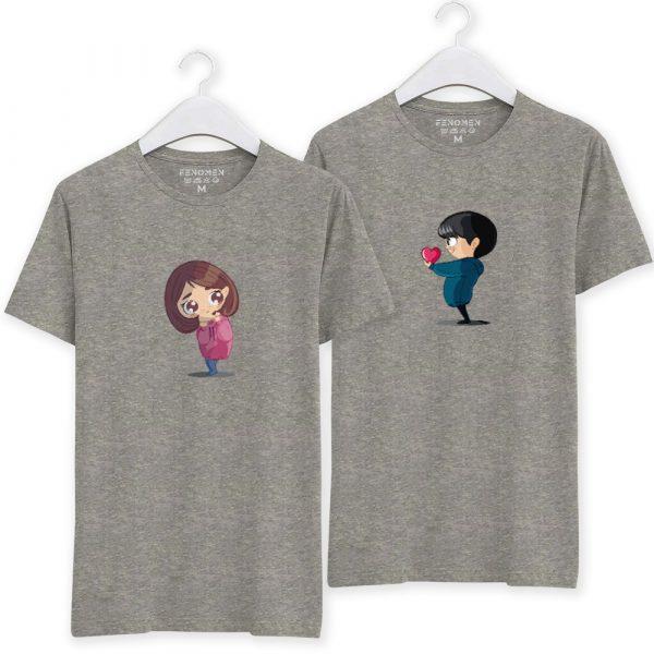Kalbimi Sana Verdim Baskılı Sevgili Kombin Tişörtleri