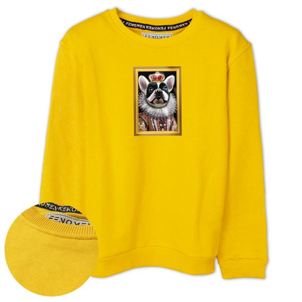 Kraliyet Fransız Bulldogu Baskılı Çocuk Sweatshirt