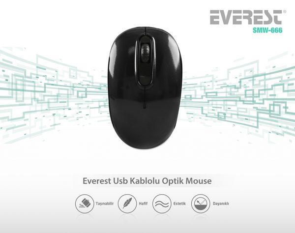 Everest SMW-666 USB Siyah 2.4 Ghz Optik Wireless Mouse