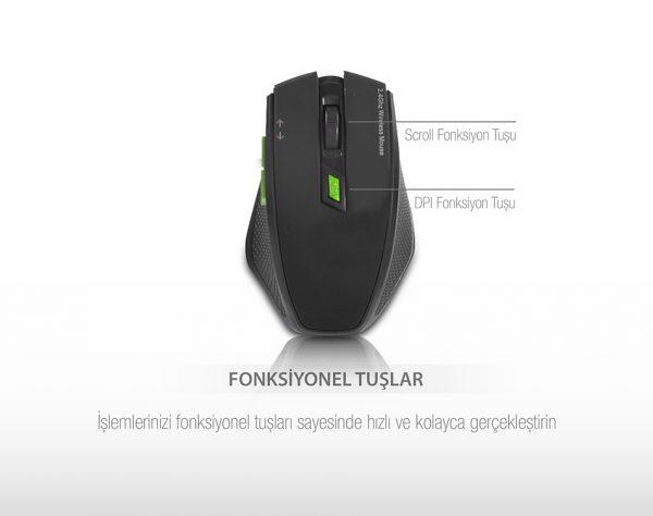 Everest SMW-777 USB Siyah 2.4 Ghz Optik Wireless Mouse