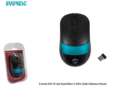 Everest Sm-18 Usb Siyah/Mavi 2.4 Ghx Optik Kablosuz Mouse