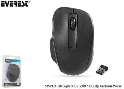 Everest Sm-803 Usb Siyah 80012001600 Dpi Kablosuz Mouse