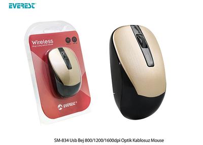 Everest SM-834 Usb Bej 800/1200/1600dpi Optik Kablosuz Mouse