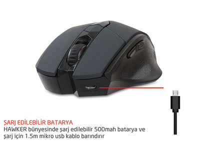 Rampage SMX-R12 Hawker Siyah 4800 Dpi Kablosuz Gaming Oyuncu Mouse