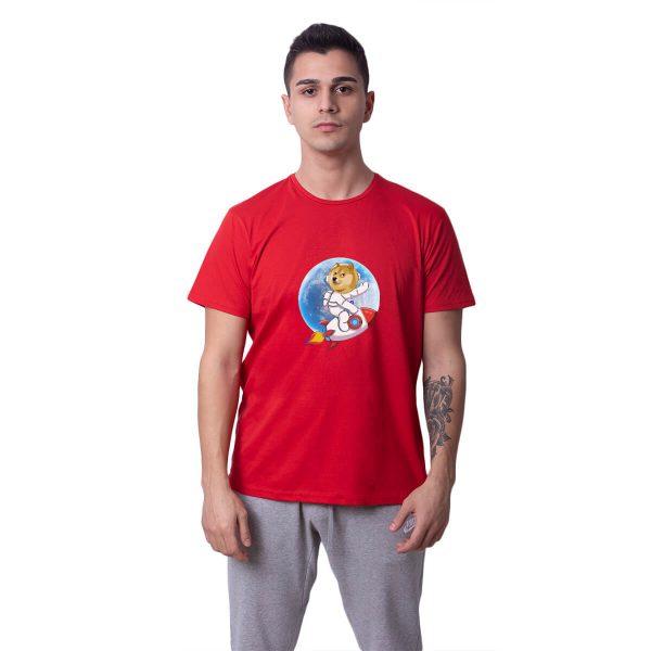 Doge Coin To The Moon Baskılı Regular Unisex Tişört