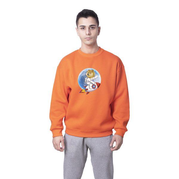 Dogecoin To The Moon Baskılı Oversize Unisex Sweatshirt