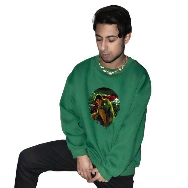 Yiğit Alp Çavdar Gece Avcısı Yeşil Baskılı Oversize Unisex Sweatshirt