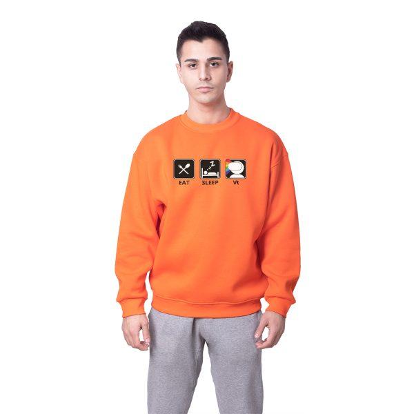 Revanche Eat Sleep VR Baskılı Oversize Unisex Sweatshirt