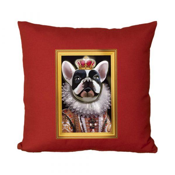 Kraliyet Fransız Bulldogu El Yapımı Boncuk Silikon Dolgulu Kırlent Yastık
